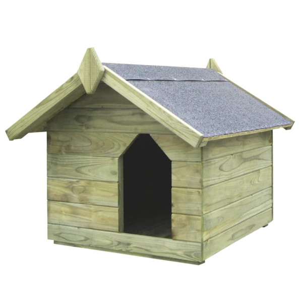 Hundehus til haven med åbent tag imprægneret fyrretræ