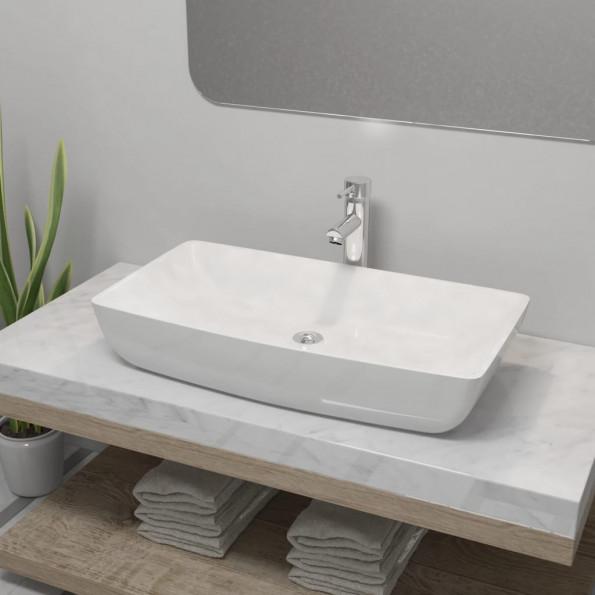Badeværelseshåndvask med blandingsbatteri keramik rektangulær hvid