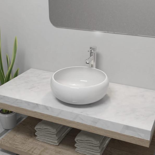 Badeværelseshåndvask med blandingsbatteri keramik rund hvid