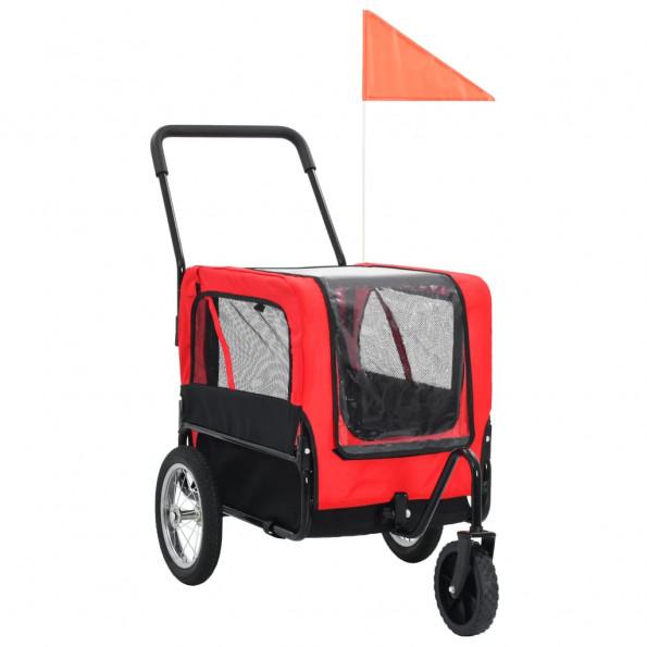 2-i-1 cykelanhænger og joggingklapvogn til kæledyr rød og sort