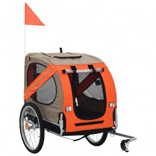 Cykelanhænger til hund orange og brun