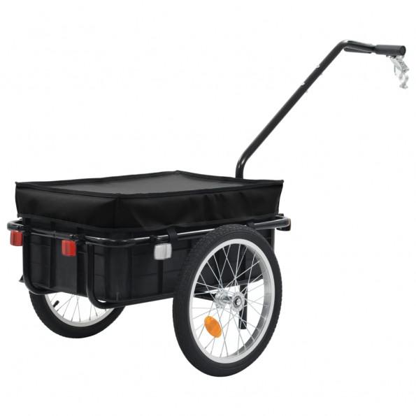 Cykelanhænger/trækvogn 155 x 61 x 83 cm sort stål