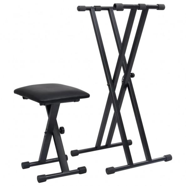 Dobbeltforstærket keyboardstativ- og stolesæt sort