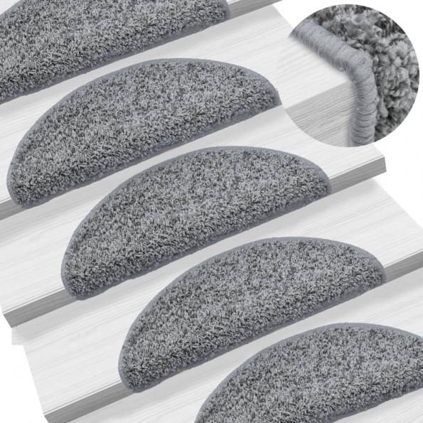 15 stk. trappemåtter 56 x 20 cm grå