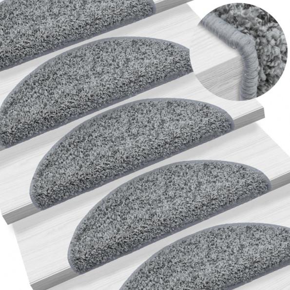 15 stk. trappemåtter 65 x 25 cm grå