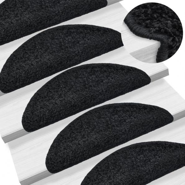 15 stk. trappemåtter 65 x 25 cm sort