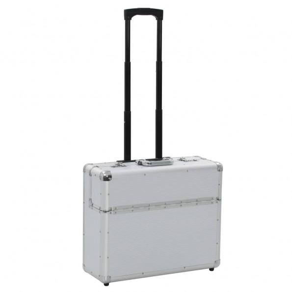 Kuffert 54 x 44 x 21 cm sølvfarvet aluminium