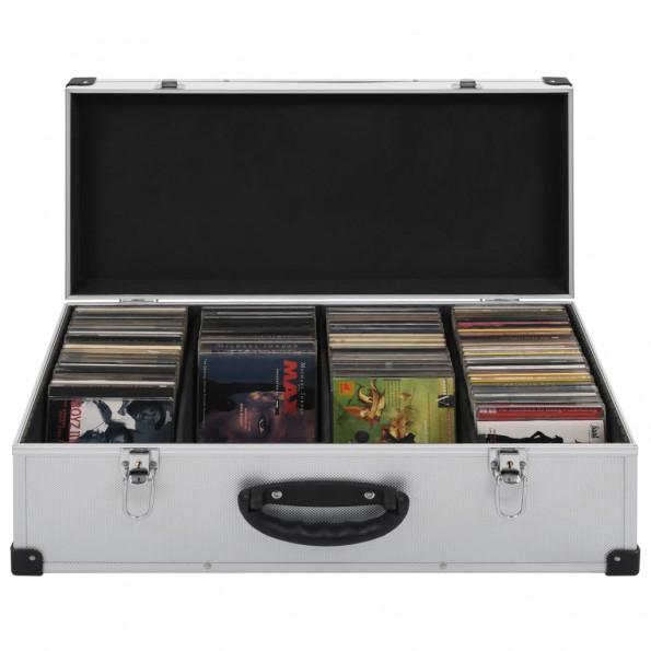 CD-kasse til 80 CD'er aluminium ABS sølvfarvet