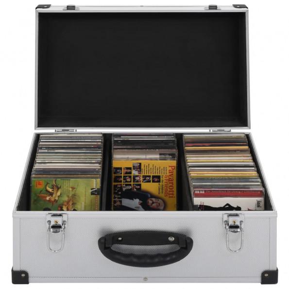 CD-kasse til 60 CD'er aluminium ABS sølv