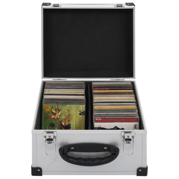 CD-kasse til 40 CD'er aluminium ABS sølv