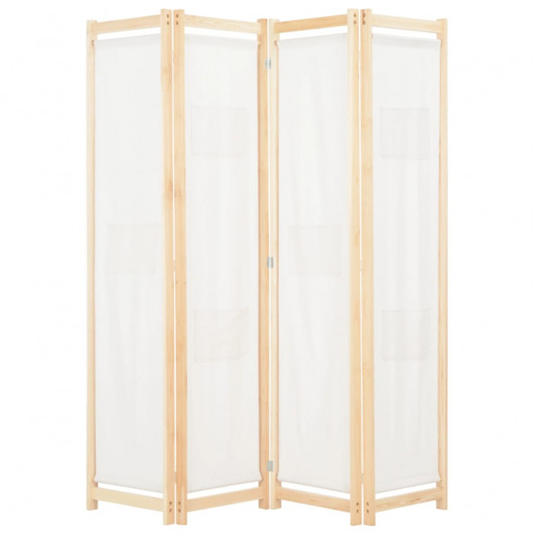 4-panels rumdeler 160 x 170 x 4 cm stof cremefarvet