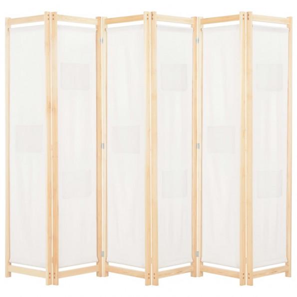 6-panelers rumdeler 240 x 170 x 4 cm stof cremefarvet