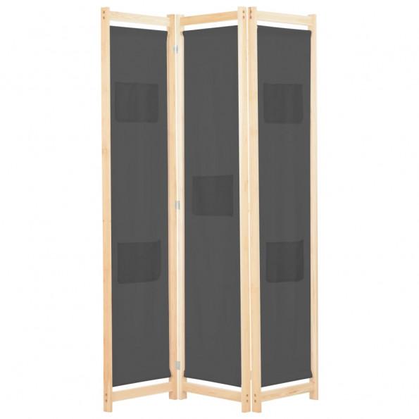 3-panels rumdeler 120 x 170 x 4 cm stof grå