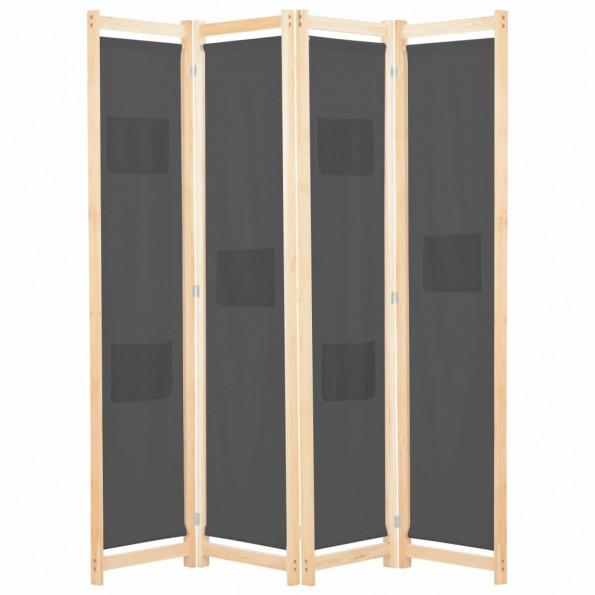 4-panels rumdeler 160 x 170 x 4 cm stof grå