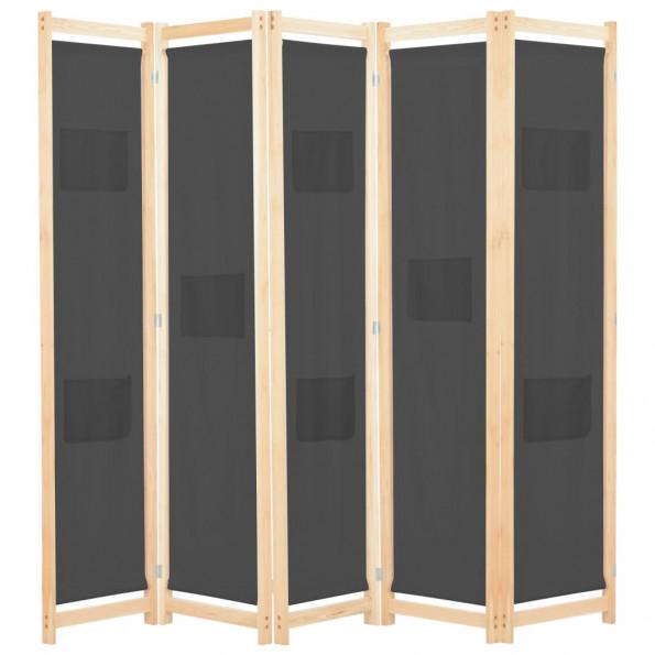 5-panelers rumdeler 200 x 170 x 4 cm stof grå