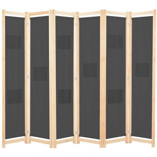 6-panelers rumdeler 240 x 170 x 4 cm stof grå