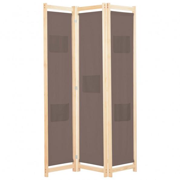 3-panels rumdeler 120 x 170 x 4 cm stof brun