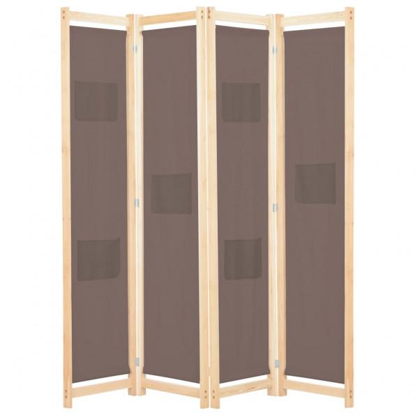 4-panels rumdeler 160 x 170 x 4 cm stof brun