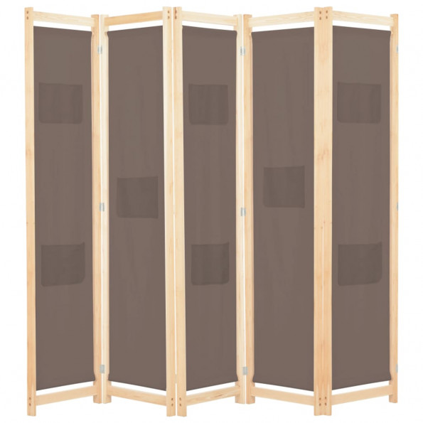 5-panels rumdeler 200 x 170 x 4 cm stof brun