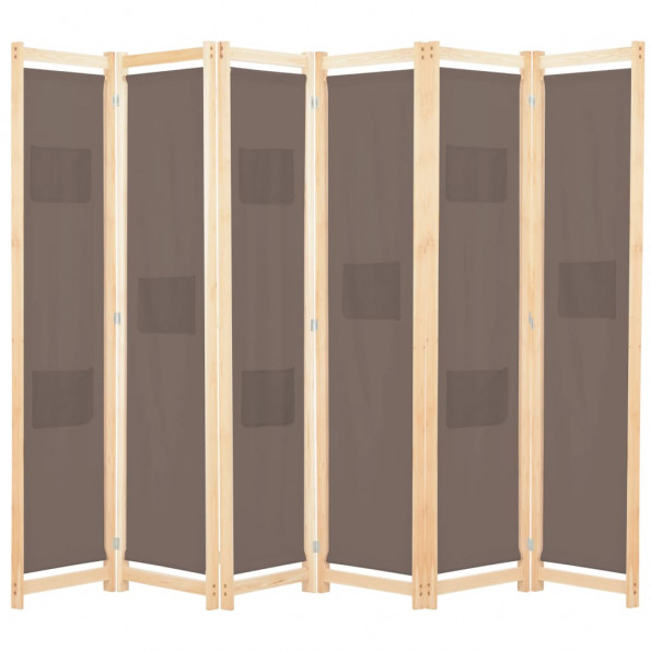 6-panels rumdeler 240 x 170 x 4 cm stof brun