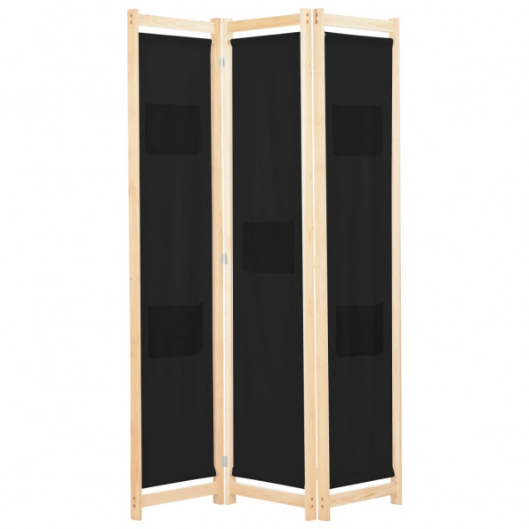 3-panels rumdeler 120 x 170 x 4 cm stof sort