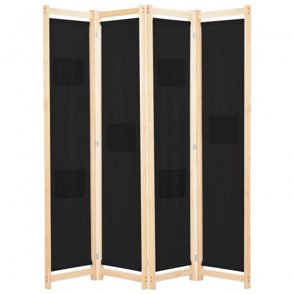 4-panels rumdeler 160 x 170 x 4 cm stof sort