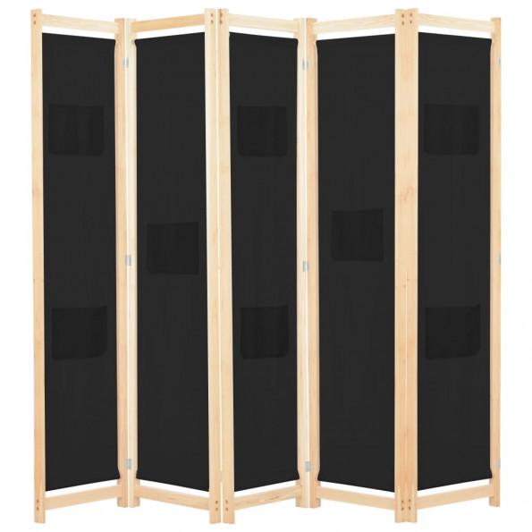 5-panels rumdeler 200 x 170 x 4 cm stof sort