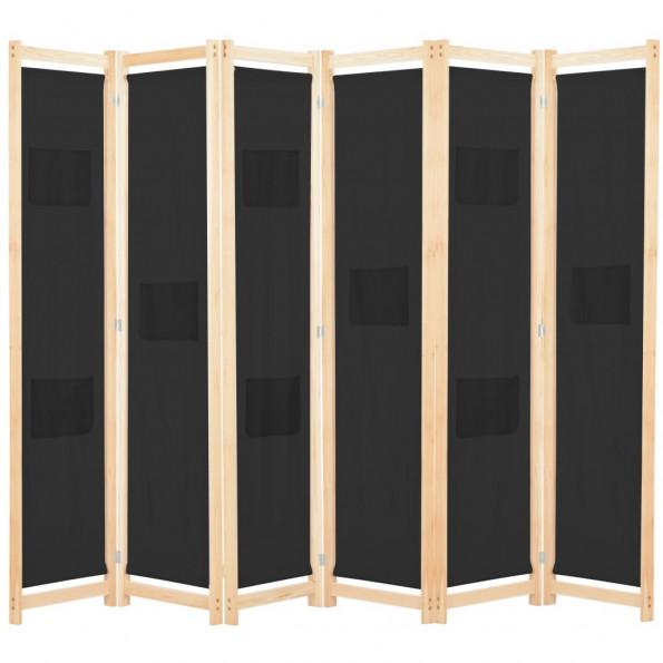6-panels rumdeler 240 x 170 x 4 cm stof sort
