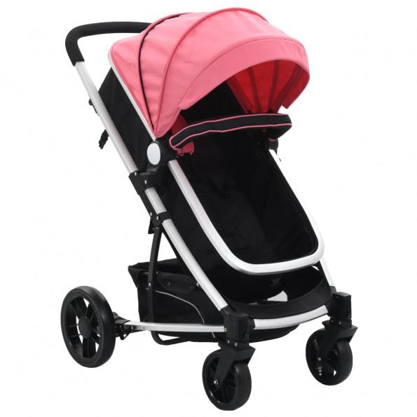 2-i-1 klapvogn/barnevogn aluminium pink og sort