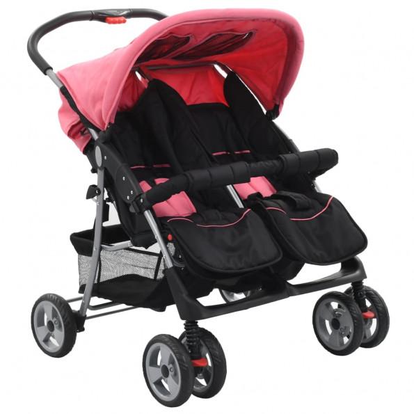 Tvillingeklapvogn stål pink og sort