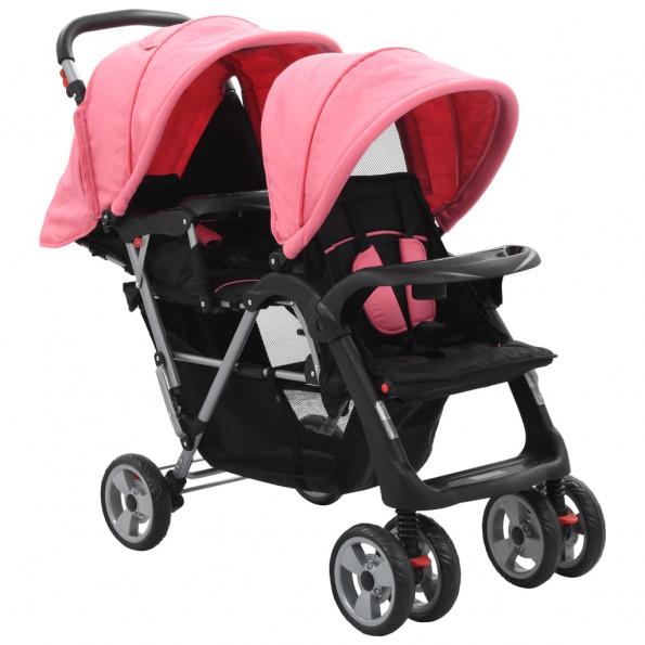 Tvillingklapvogn stål pink og sort