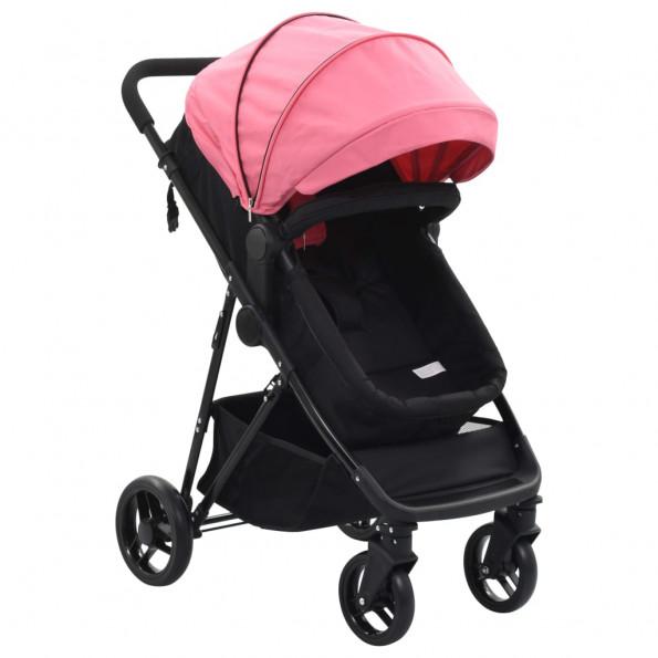 2-i-1 klapvogn/barnevogn stål pink og sort