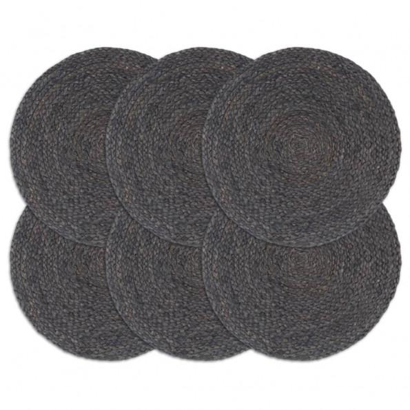 Dækkeservietter 6 stk. rund 38 cm jute mørkegrå