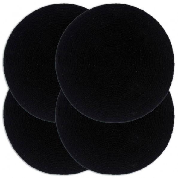 Dækkeservietter 4 stk. runde 38 cm bomuld sort