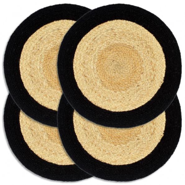Dækkeservietter 4 stk. rund 38 cm jute og bomuld sort
