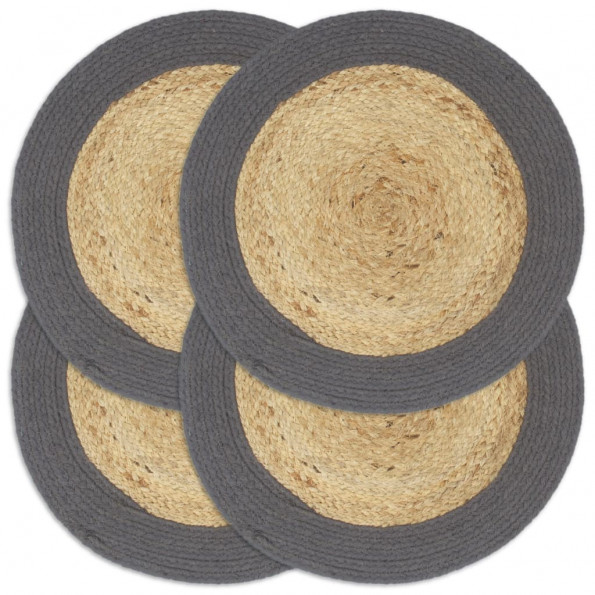 Dækkeservietter 4 stk. rund 38 cm jute og bomuld antracitgrå