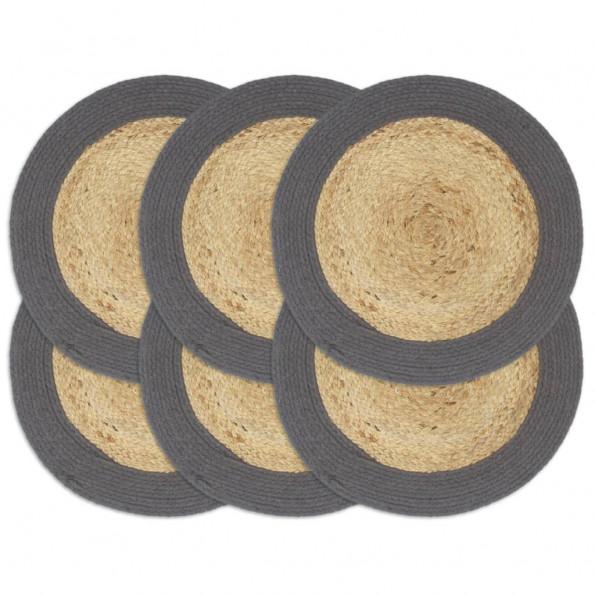 Dækkeservietter 6 stk. rund 38 cm jute og bomuld antracitgrå