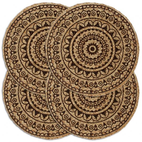 Dækkeservietter 4 stk. rund 38 cm jute mørkebrun