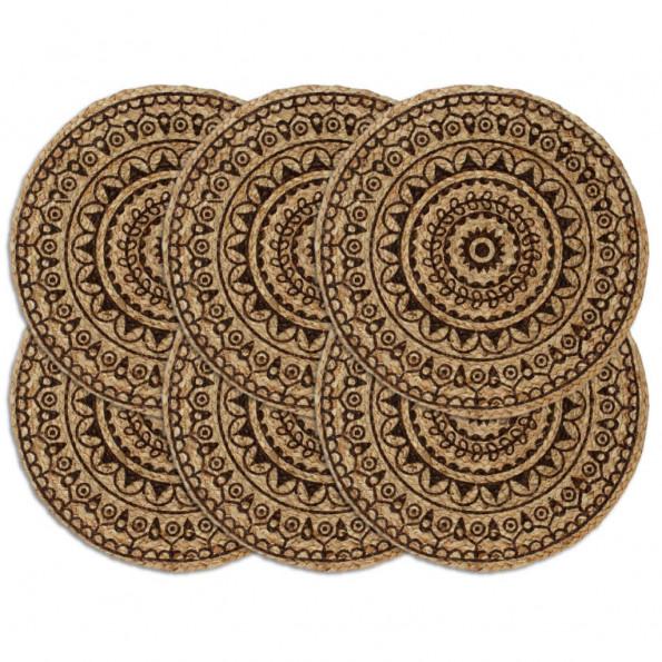 Dækkeservietter 6 stk. rund 38 cm jute mørkebrun