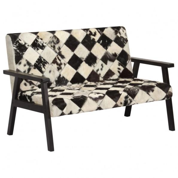 2-personers sofa i ægte gedeskind hvid og sort