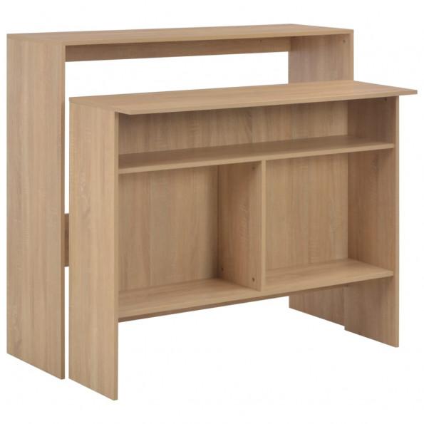 Barbord med 2 bordplader 130 x 40 x 120 cm egetræ