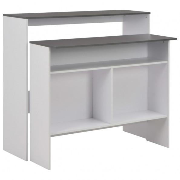 Barbord med 2 bordplader 130x40x120 cm hvid og grå