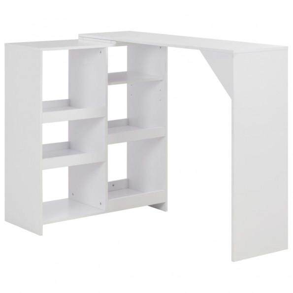 Barbord med bevægelig hylde 138 x 40 x 120 cm hvid