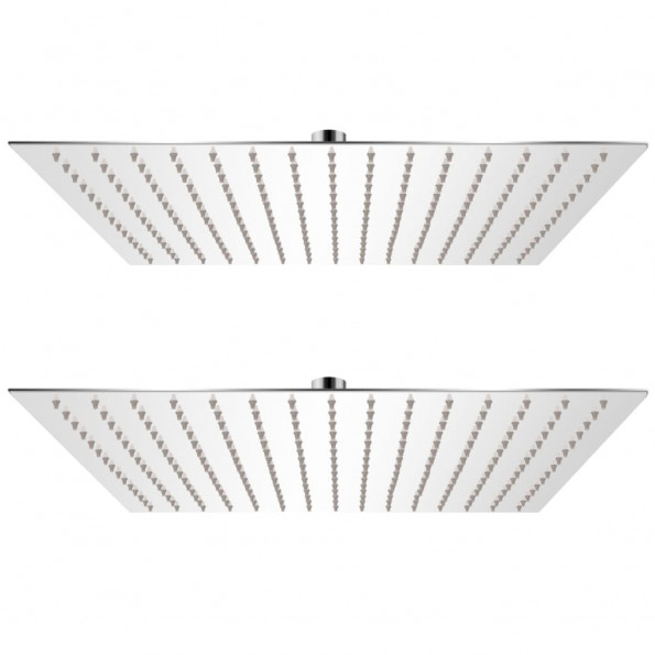 Brusehoveder rainshower-funktion 2 stk. rustfrit stål 40 x 40 cm