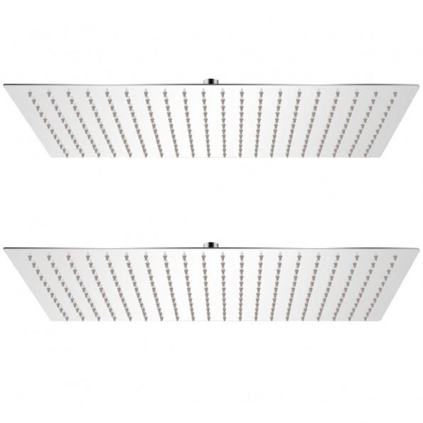 Brusehoveder rainshower-funktion 2 stk. rustfrit stål 30 x 50 cm