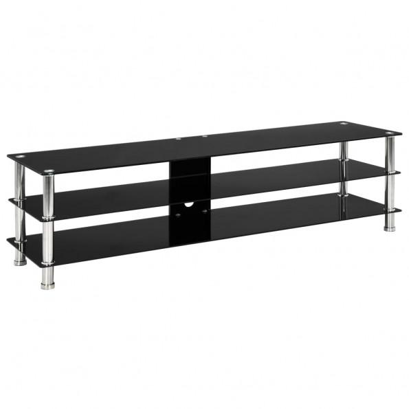 Tv-bord 150 x 40 x 40 cm hærdet glas sort