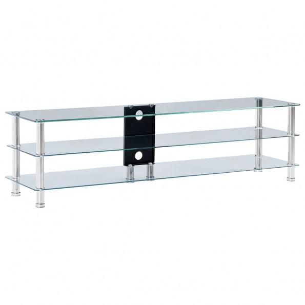 Tv-bord 150 x 40 x 40 cm hærdet glas transparent