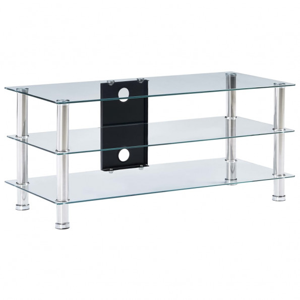 Tv-bord 90 x 40 x 40 cm hærdet glas transparent