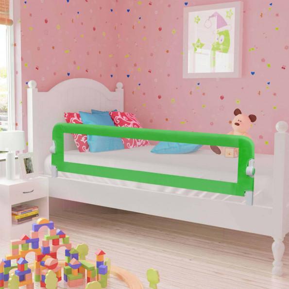 Sengegelænder til barneseng 120 x 42 cm polyester grøn