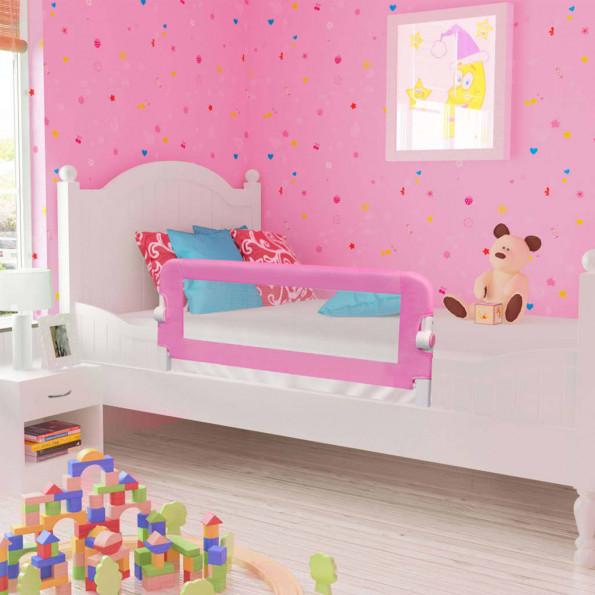 Sengegelænder til barneseng 120 x 42 cm polyester pink